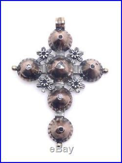 Croix Maintenon ancienne en or argent diamants taille rose bijou Provençal XIXe