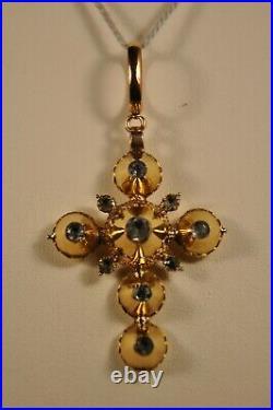 Croix Regionale Pendentif Ancien Or Massif 14k Antique Solid Gold Pendant Rock