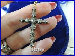 Croix ancienne or rose 18 carats, argent et diamants taille anciennne