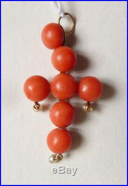 Croix pendentif OR massif 18k + corail bijou ancien coral gold cross