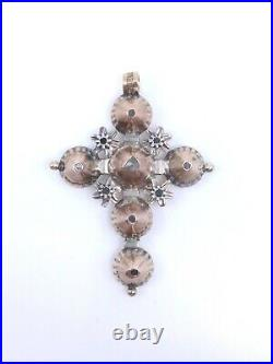 Croix régionale picarde ancienne en or 18k argent et diamants taille rose XIXeme