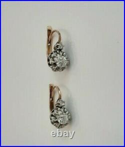 DORMEUSES Anciennes Boucles d'oreilles Or & DIAMANTS 0,25 carats / GOLD EARRINGS