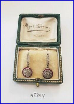 DORMEUSES Anciennes Or, diamant, rubis Boucles d'oreilles XIXeme/ GOLD EARRINGS