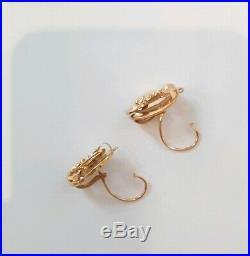 DORMEUSES Anciennes en Or 18cts Boucles d'oreilles anciennes femme GOLD EARRINGS