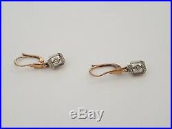 DORMEUSES Anciennes en Or 18cts / OLD GOLD EARRINGS Bijoux dormeuses