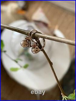 Dormeuses Anciennes En Or Rose 18k Perles Antique Victorian Gold Pearls Earrings