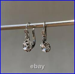 Dormeuses anciennes Boucles d'oreille Or blanc 18k et Pierres blanches