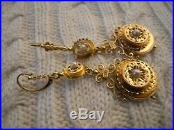 Dormeuses pendantes boucle d'oreille ancienne en or 18 carats perles