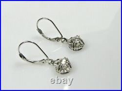 Dormeuses pendants anciens or 18 K diamants 0,30 ct monture or blanc 14 K