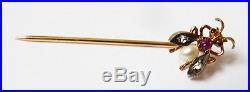 Épingle OR massif 18k + perle + diamant mouche abeille gold pin ancien diamond