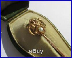 Epingle à cravate ancienne Mascaron perle Or rose 18 carats 3,3g Gold 750
