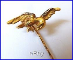 Épingle de cravate OR 18k + diamant ancien gold pin aigle royal eagle