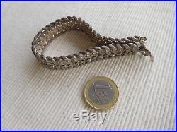 Fort Bracelet Ancien En Argent Massif Cygne 67 Grammes 19 Cms Ruban Tresse Gb17