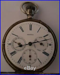 Gousset argent ancien a quantièmes NICOLET Geneve Suisse 1890, fonctionne