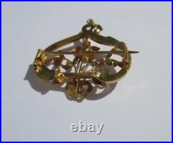 Grand pendentif broche ancien Art Nouveau cur noeud perle or 18 carats French