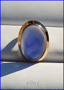 Grande bague ancienne Art Déco or blanc or jaune cabochon agate bleue 8 grammes