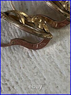 Grandes Dormeuses Anciennes Plaqué Or Rose Antique Victorian Gold Pl Earrings