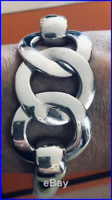 HERMES RARE Bracelet ancien argent massif 925/1000 (GRAND MODELE)