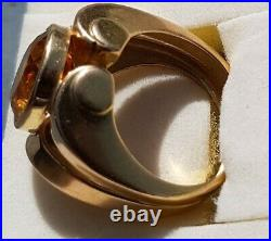 IMPOSANTE ANCIENNE BAGUE TANK OR 750 9.5gr ART DECO citrine AAA 12mm x 10 mm