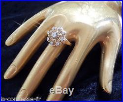 Importante Bague Vintage Or Jaune Et Diamants Taille Ancienne