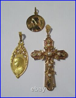 Importante croix pendentif ancien Provence perles or rose 18 carats 7,9g French