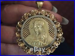 Importante médaille vierge ancienne en or jaune 18 carats