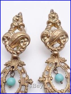 Importants pendants doreilles en pomponne et perles dormeuses ancienne XIXeme