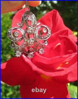 Imposant pendentif ancien XIX pavé 40 diamants or 18 carats 750 et argent 10,7g