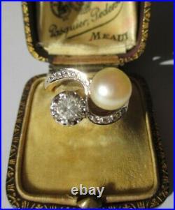 Imposante bague Toi et Moi ancienne saphir & perle Akoya Or 18 carats 750 6g