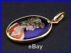 Joli pendentif ancien en emaux de Limoges monture or 18 carats XIXe