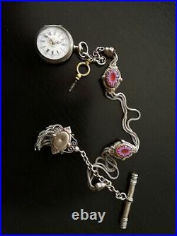 Jolie montre a gousset femme argent fin avec sa clé et chaine ancienne émaillée