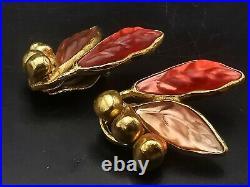 Kenzo Ancienne Paire De Boucles D'oreilles Clip Metal & Resine Vintage Earrings