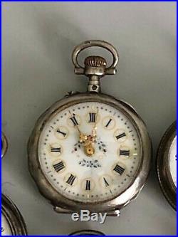 LOT 5 ANCIENNES MONTRES A GOUSSET DE FEMME ARGENT pocket watch reloj