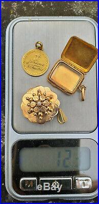 Lot de 3 bijoux pendentifs anciens en Or massif 12,3 grammes