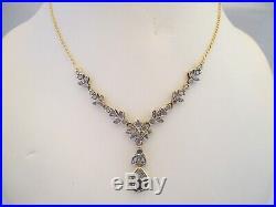 MAGNIFIQUE COLLIER ANCIEN EN OR 18K ET ARGENT SAPHIR ET DIAMANTS or 18 carats