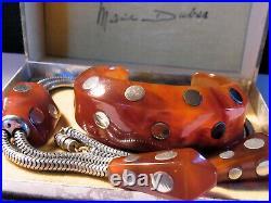 MARIE DUBAS COLLIER & BRACELET ANCIEN ART DECO Bakelite & Chrome ECRIN D'ORIGINE