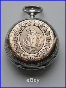 MARSAIS Sarthe montre gousset ancienne argent decor ange amour sur ancre marine