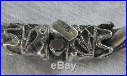 Magnifique Ancien Bracelet Tête de Béliers Argent Massif