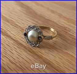 Magnifique Bague Ancienne Art Deco Or Diamants Perle Saphirs A Voir
