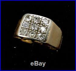 Magnifique Bague Ancienne En Or 18 Carats Diamants 0.40 Carat