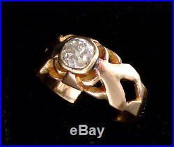 Magnifique Bague Ancienne En Or 18 Carats Solitaire Diamant 0.25 Carat