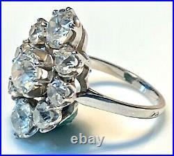 Magnifique Bague Ancienne En Platine Diamants 3.95 Carats