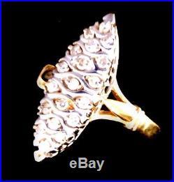 Magnifique Bague Ancienne Marquise Diamants Or 18 Carats 0.38 Carat