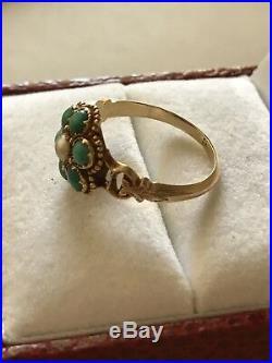 Magnifique Bague Ancienne Napoleon III Or Perle Turquoises