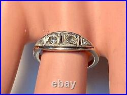 Magnifique Bague Ancienne Or 18 Carats Diamants 0.10 Carat 2.27 G