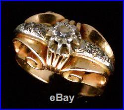 Magnifique Bague Ancienne Or 18 Carats Diamants 0.28 Carat
