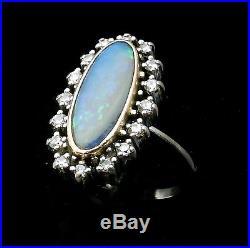 Magnifique Bague Ancienne Or 18 Carats Opale Et Diamants 0.32 Carat