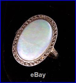 Magnifique Bague Ancienne Or 18 Carats Opale Et Diamants Taille Rose