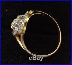 Magnifique Bague Or 18 Carats Toi Et Moi Ancien Diamants 0.36 Carats 3.35 G