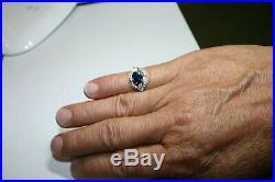 Magnifique bague ancienne diamants, saphir platine fait main année 30